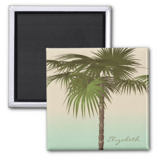 Romantic Tropical Palm Tree -Personalized Square Magnet