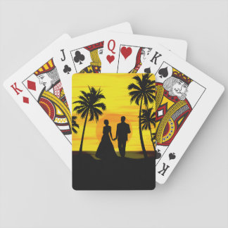 Romantic tropical sunset playing cards