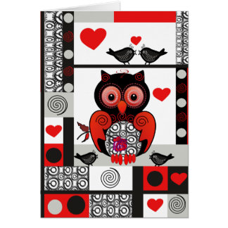 Romantic Valentine's day card with Owl & Lovebirds