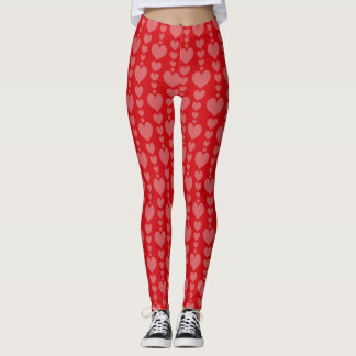 Romantic Valentine's Day Hearts Leggings Red Pink