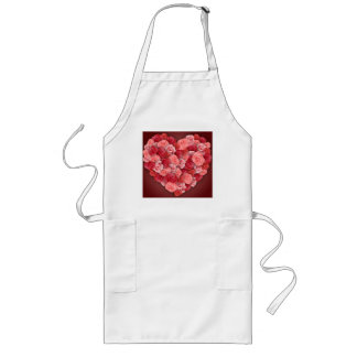 Romantic Valentines day pink and red roses Long Apron