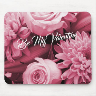Romantic Valentines Day Pink Roses Mouse Pad