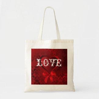 Romantic valentines love heart budget tote bag