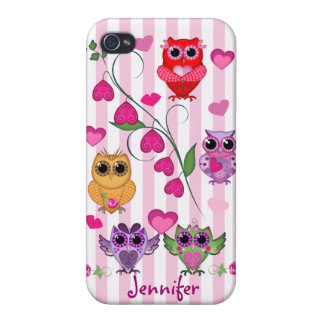 Romantic Valentines owls & hearts case with Name iPhone 4/4S Case