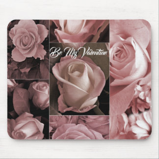 Romantic Valentines Pink Roses Mouse Pad