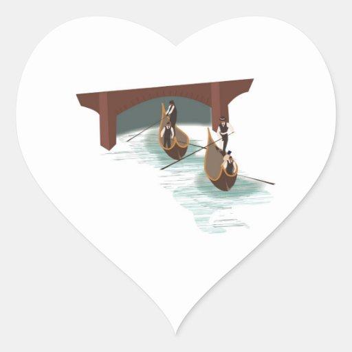 Romantic Venice Gondolas Wedding Hearts Stickers