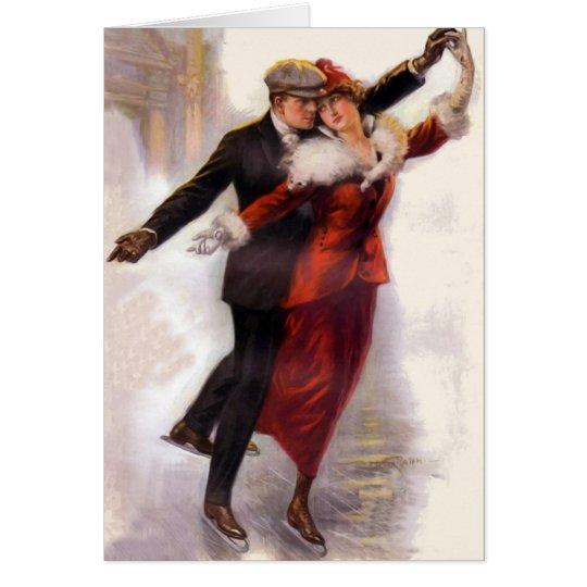 Romantic Victorian Couple Ice Skating Card