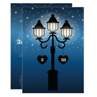 Romantic Victorian Lamp Post With Initials Wedding Card