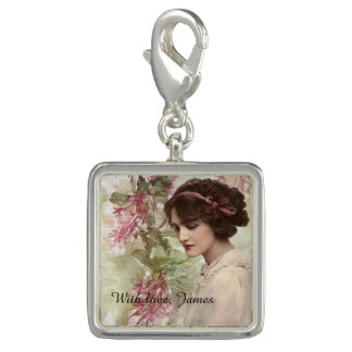 Romantic Victorian Woman Pink Floral Charm
