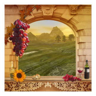 Romantic Vineyard (Wedding) Vintage Painting Photo Print