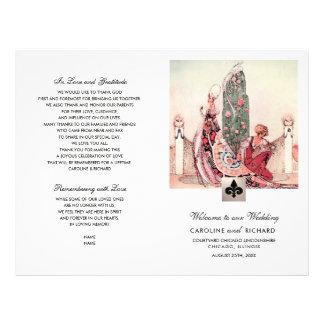 Romantic Vintage Art  Folded Wedding Program