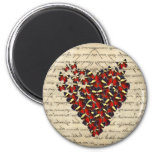 Romantic Vintage butterfies 2 Inch Round Magnet