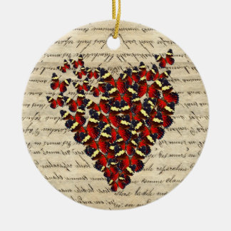 Romantic Vintage butterfies Round Ceramic Ornament