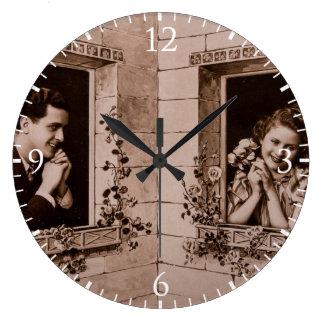 Romantic Vintage Couple, Sepia Photograph Clock