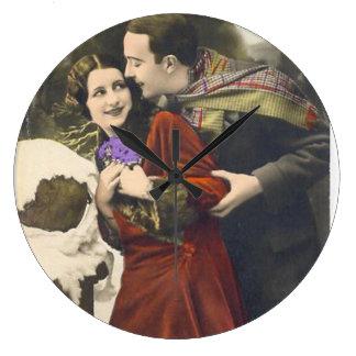 Romantic Vintage Couples - Photography Large Clock