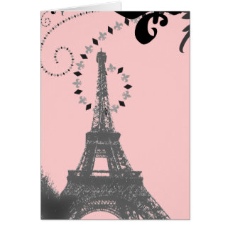 Romantic Vintage eiffel tower Paris Wedding Card