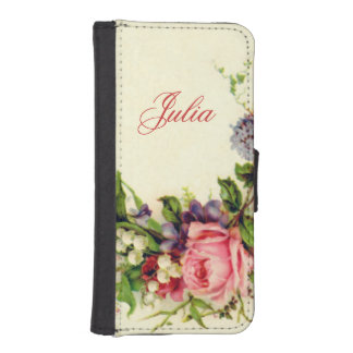Romantic Vintage Floral Personalized iPhone SE/5/5s Wallet Case