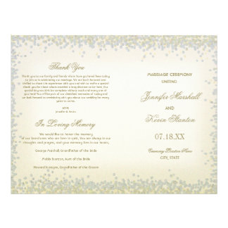 Romantic Vintage Gold and Silver Glitter Confetti Flyer