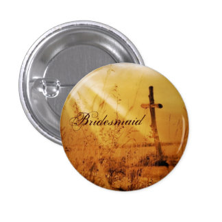 Romantic vintage golden country cross wedding buttons
