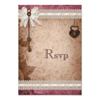 """Romantic Vintage Hearts Locks and Keys RSVP 3.5"""" X 5"""" Invitation Card"""