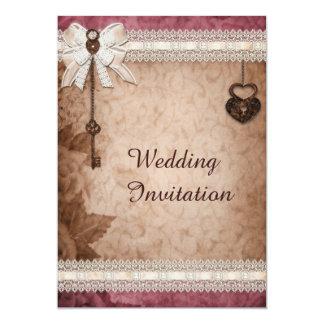 """Romantic Vintage Hearts Locks and Keys Wedding 5"""" X 7"""" Invitation Card"""