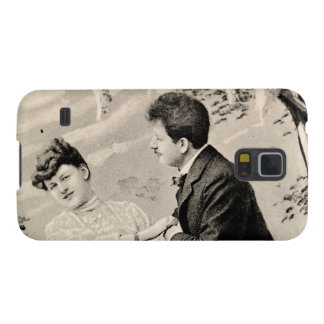 Romantic vintage lovers on a boat cases for galaxy s5
