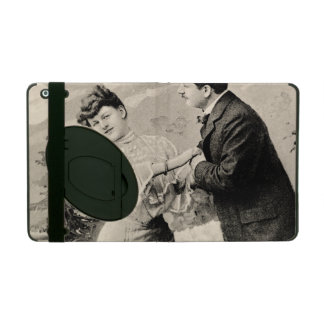 Romantic vintage lovers on a boat covers for iPad