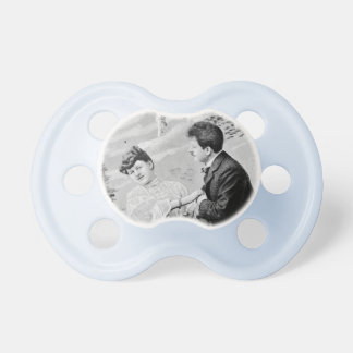 Romantic vintage lovers on a boat pacifier