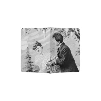 Romantic vintage lovers on a boat passport holder