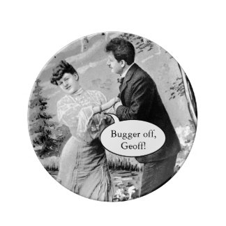 Romantic vintage lovers on a boat plate