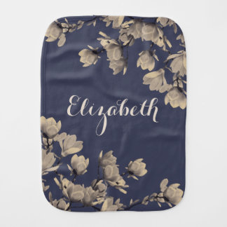 Romantic Vintage Magnolia Flowers Baby's Name Burp Cloth