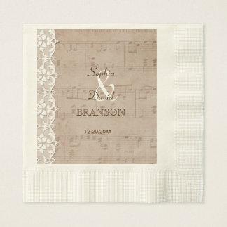 Romantic Vintage Music Sheet & Lace Wedding Disposable Napkins
