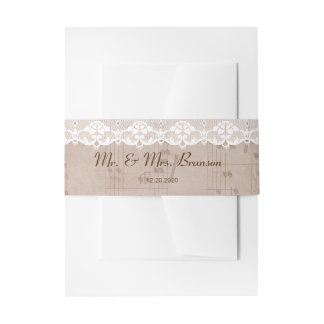 Romantic Vintage Music Sheet & Lace Wedding Invitation Belly Band