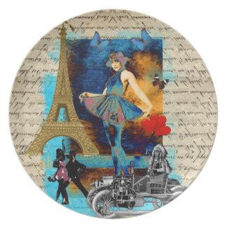 Romantic vintage Paris collage Plate