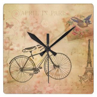 Romantic Vintage Paris in Spring Collage Square Wall Clock