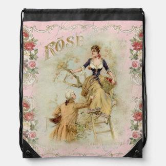 Romantic vintage Paris lovers pink rose accessory Drawstring Bag