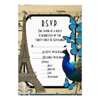"Romantic vintage Paris wedding R.S.V.P 3.5"" X 5"" Invitation Card"