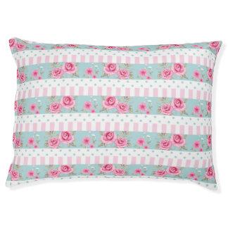 Romantic Vintage Pink & Mint Floral Roses Pattern Pet Bed