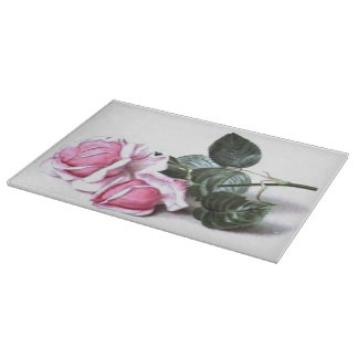 Romantic Vintage Pink Roses Cutting Board
