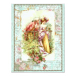 """Romantic Vintage Regency Couple with Roses 4.25"""" X 5.5"""" Invitation Card"""