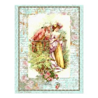 Romantic Vintage Regency Couple with Roses Letterhead Design