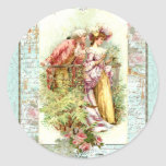 Romantic Vintage Regency Couple with Roses Round Sticker