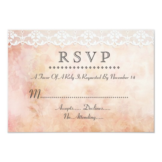 Romantic Vintage Rose and Lace Wedding RSVP Custom Card