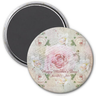 Romantic vintage roses and custom text magnet