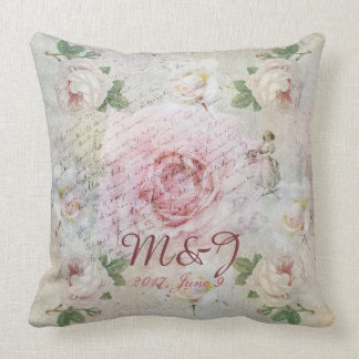 Romantic vintage roses and custom text throw pillow