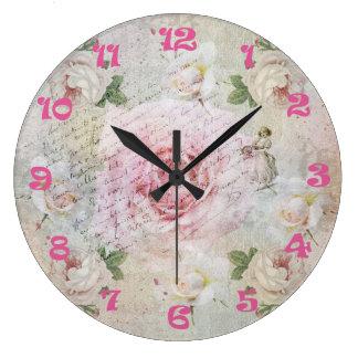 Romantic vintage roses, handwriting & clocknumbers wallclock