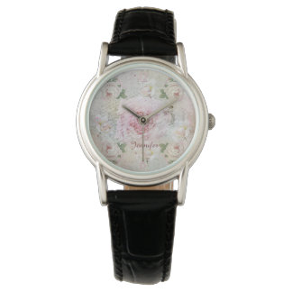 Romantic vintage roses, handwriting & custom name watch