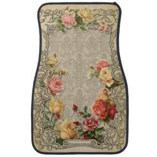 Romantic Vintage Sculpted Roses Car Carpet