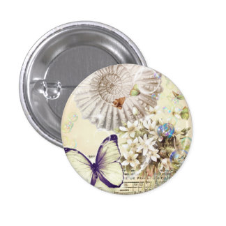 romantic Vintage seashell butterfly wedding 1 Inch Round Button