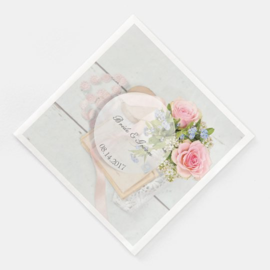 Romantic vintage spring flower editable wedding disposable napkins